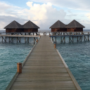 Over the water bungalows in the Maldives