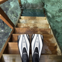 Steps from our over the water bungalow at the Maldives